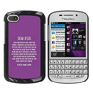 Paccase / SLIM PC / Aliminium Casa Carcasa Funda Case Cover para - BIBLE Dear Jesus - BlackBerry Q10