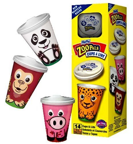 Amazon Com Hefty Zoo Pals 8 Ounce Cups With Lids 14 Count Boxes