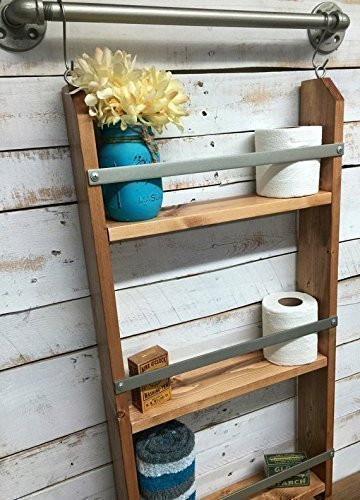 Wood Ladder Shelf- Wooden Wall Shelf, rustic bathroom shelf, industrial shelf, farmhouse shelf, cottage chic, home décor, shelf w/pipe towel bar (Wood Ships Ladder)