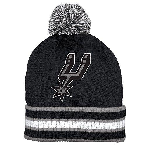 San Antonio Spurs Double Sided Striped Cuff Pom Knit Beanie Hat / Cap