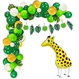 Jungle Theme Party Supplies Safari Party Decorations 100 Latex Balloons, Giraffe Mylar Balloon, Jungle Garland, Artificial Palm Leaves, Balloon Tape Strips and Tying Tools for Baby Shower, Birthday