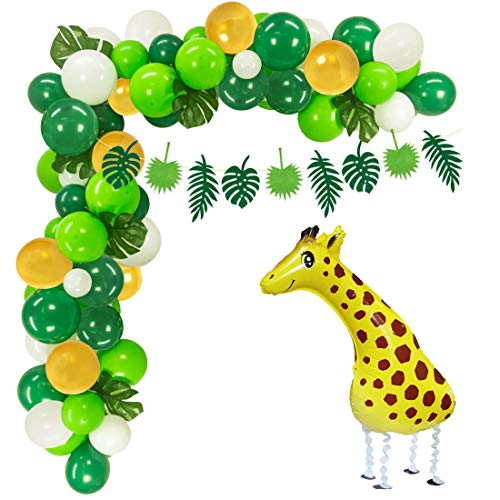 Jungle Theme Party Supplies Safari Party Decorations 100 Latex Balloons, Giraffe Mylar Balloon, Jungle Garland, Artificial Palm Leaves, Balloon Tape Strips and Tying Tools for Baby Shower, -