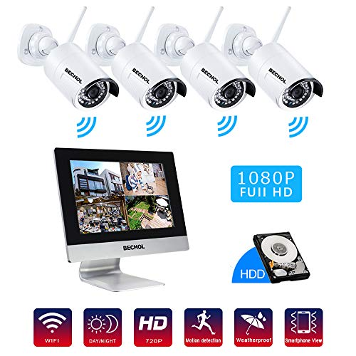 (Bechol 1080P Wireless Security Surveillance, 4CH WiFi NVR with 10.1'' LCD Monitor,(4)HD 2.0MP Outdoor/Indoor CCTV Cameras,24pcs IR Leds 100ft night vision,500GB Hard Drive)