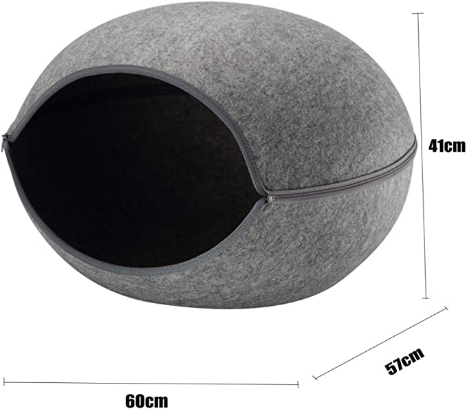 Medium-60cm*57cm*41cm GAONAH Dog Cave Bed,Dog Bed,Cat Bed House Igloo Pet Cave Washable With Inner Cushion ,Grey-60cm*57cm*41cm