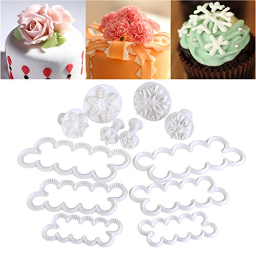 OUNONA Fondant Molds | 12 Pieces Assorted Fondant Cake Cutters | Cake Mold Decorating Tools | Rose Carnation Snow Flower DIY Cake Decoration