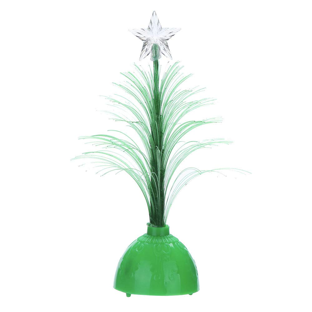 Midress LED Color Changing Mini Xmas Tree,Christmas Tree Table Decor Ornament Tabletop Festival Xmas Party Decor Gifts, Office Desktop&Cabinet Display (Green)