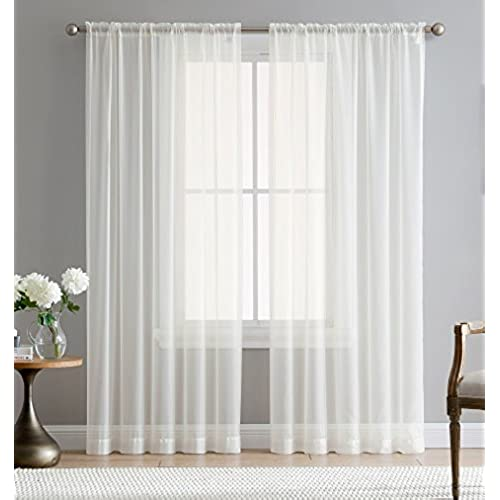 ME Ivory 54 Inch X 84 Window Sheer Curtain Voile Panels For Bedroom Living Room Kitchen