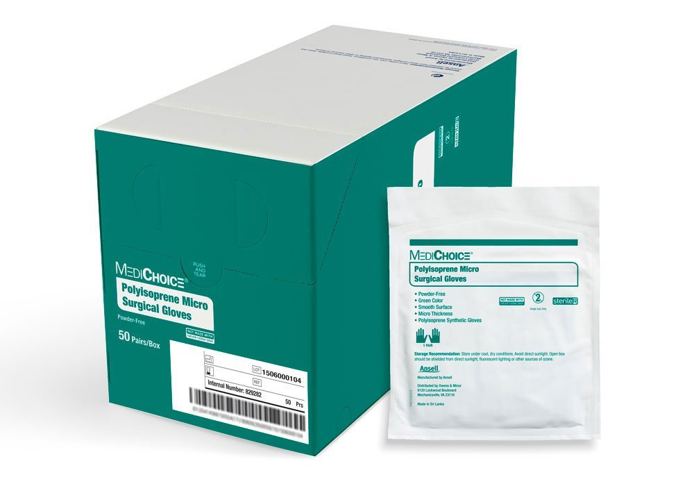 MediChoice Micro Surgical Glove, Powder Free, Sterile, Synthetic Polyisoprene 8.0, Green, 1314SGL90080 (Box of 50)