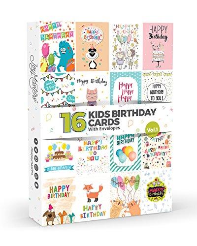 16 x KIDS Birthday Cards by Joy MastersTM Vol.1 | Multipack for Children | Large Set for Boys & Girls