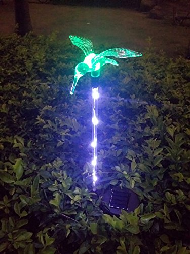 Solar Lights, Solarmks 2nd Generation Solar Powered Outdoor Multi-color Changing LED Stake Light, with a White LED Light Stake (Hummingbird)