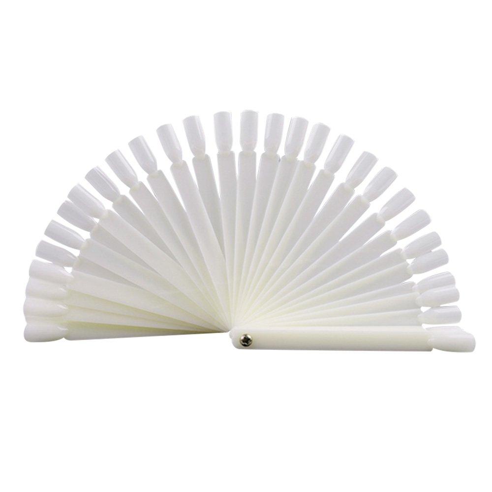 100 Pcs Clear Fan-shaped False Fake Nail Art Tips Sticks Polish Gel Salon Display Chart Practice Tool ElcGadget