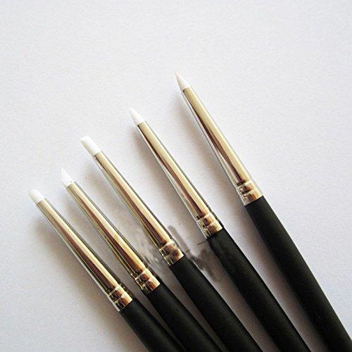 RaiFu シリコーンペン 小さい 柔らかい頭 5クレイツール 粘土ツール 白 1セット