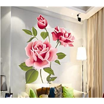 1 x hotportgift rose flower removable pvc wall sticker home decor room decal large size - Home Decor Flowers