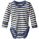 L'ovedbaby Unisex-Baby Newborn Organic Gloved Sleeve Bodysuit, Slate Stripe, 0/3 Months