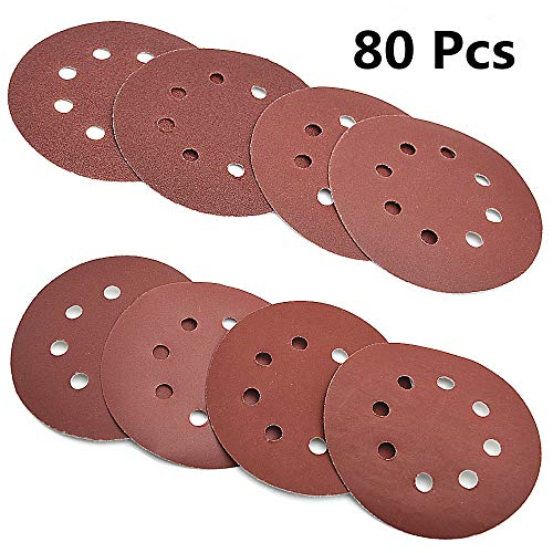 80 Pcs Abrasive Sanding Discs Paper Pads 5 Inch 8 Holes,1000/800/400/320/240/180/120/100 Grit Hoop and Loop Sandpapers for Random Orbital Sander