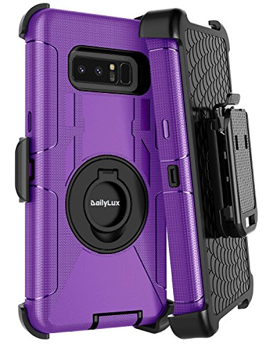 Galaxy Note 8 Case,Dailylux Note 8 Case Belt Clip Heavy Duty Shockproof Swivel Belt Clip Rugged Bumper Hybrid with Kickstand Holster Protective Cover Case for Samsung Galaxy Note 8,Black+Purple