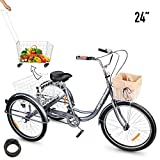 "HIRAM 3-Wheeled Adult Tricycle with Foldable Basket, 24"" Wheels Trike for Men and Women, Single Speed Cruise Bike, Exercise Bike for Recreation and Shopping, Water-Proof Bag and Bicycle Bell"