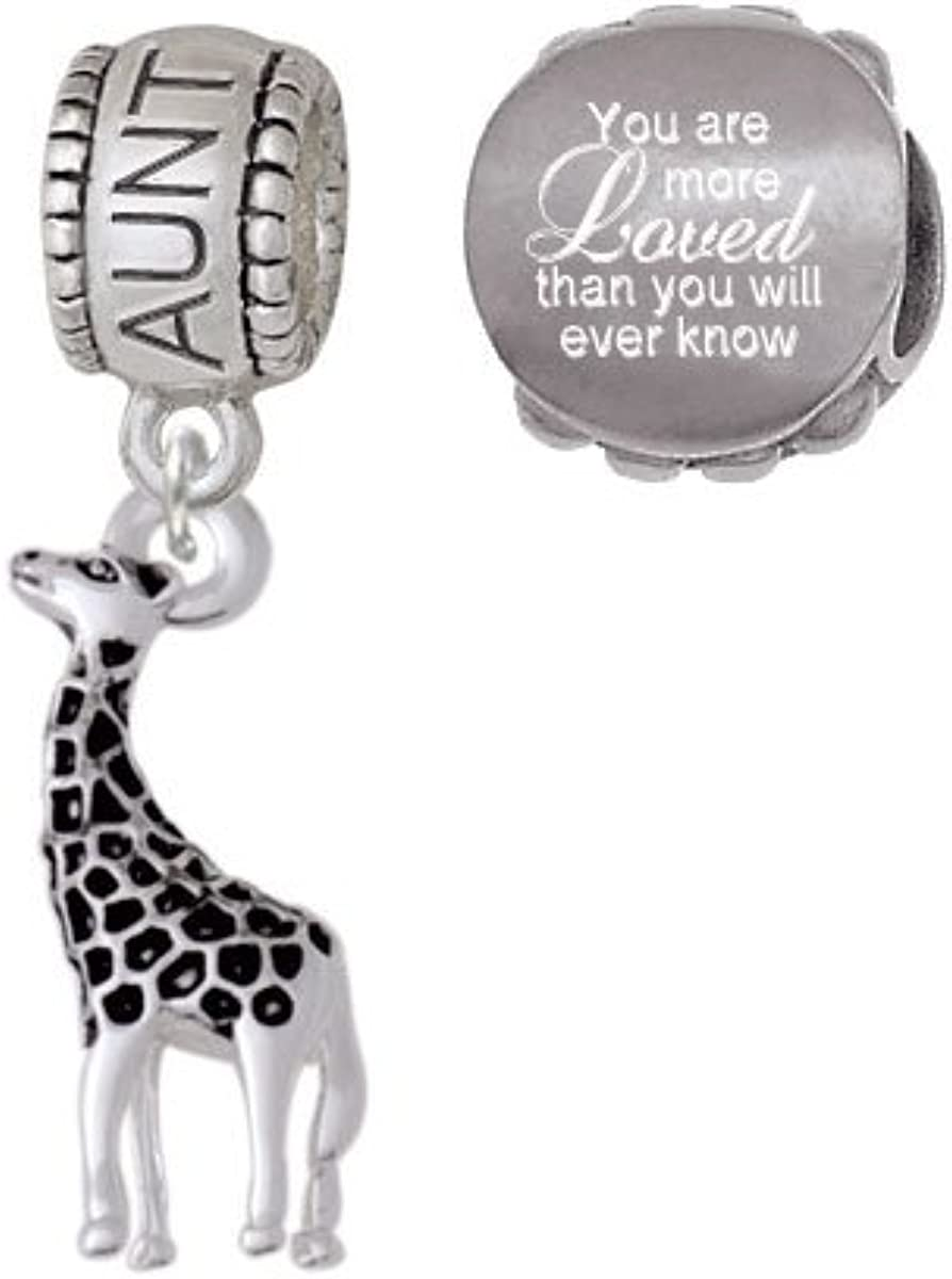 Delight Jewelry Antiqued Giraffe Family Charm Bead with You Are More Loved Bead Set of 2
