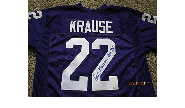 PAUL KRAUSE (HOF 98) Signed Purple Vikings Football Jersey ...