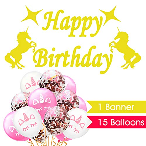 Party Artist Unicorn Birthday Party Supplies | Happy Birthday Banner 15pc Balloons | Unicorn Decorations Birthday Party | Pink Rose Gold Confetti Balloons