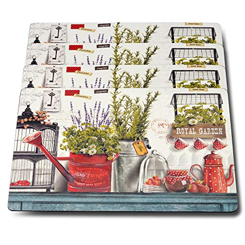 WHW Whole House Worlds Lavender Rosemary Royal Garden Place Mats, Laminated Cork-Backed Boards, Heat Resistant, Rustic Colors, Set of 4, 16 x 11 1/4 Inches