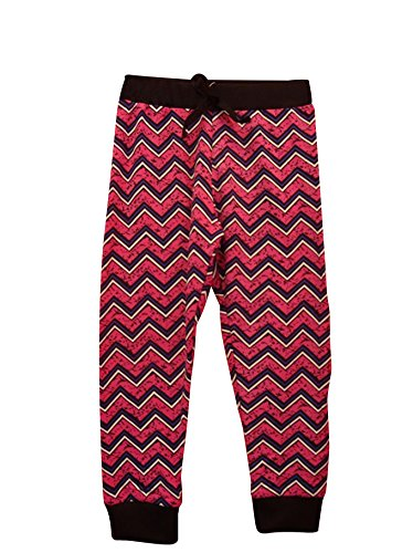 Girls Pattern All Over Print Jogger Pants Pink Chevron 6X (Large) ()