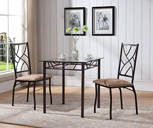 Kings Brand Furniture 3 Piece Bronze Metal Square Dining Kitchen Dinette Set, Table 2 Chairs