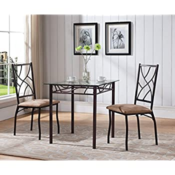3 Piece Bronze Metal Square Dining Kitchen Dinette Set, Table U0026 2 Chairs