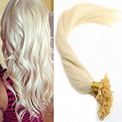 Sunny U Tip Keratin Remy Hair Extensions 18 Inch #60 White Blonde U Tip Fusion Extensions Remy Human Hair 1g/Strand 50pack