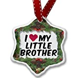 Christmas Ornament I heart love my Little Brother - Neonblond