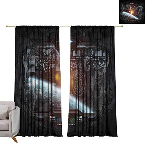 (Outer Space Decor Decor Curtains Control Panel of Cockpit Screen in Spaceflight Androids World Stardust Darkening and Thermal Insulating W72 x L96)