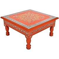 Nursery Stool Decorative Wooden Bajot Table & Puja Chowki 11 X 11 X 5.5 Inch