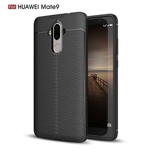 HUAWEI MATE 9 CASE, MATE 9 CASE, Torryka Premium TPU [Leather Texture Design] Slim Fit Flexible Lightweight Shock Absorbent Drop Protection Protective Case Cover for HUAWEI MATE 9 - Black