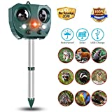 Monkey Home 2018 New Solar Powered Ultrasonic Animal and Pest Repeller,Motion Activated PIR Sensor and Flashing Strobe Animal Deterrent Spike with 2 Speakers For Rat, Vole, Raccoon, Fox, Rodent, etc