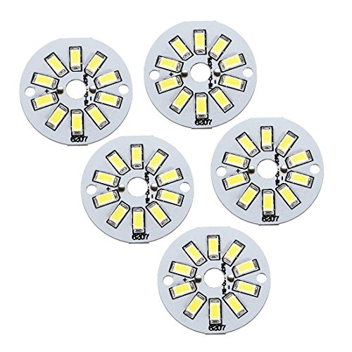 ZealMax 300mA 5W 10 LEDs 5730 SMD LED Chip Módulo Tablero de Aluminio Puro Blanco Super Brillante 35mm Dia 5 unids