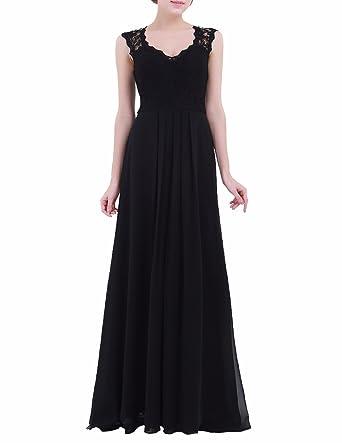 5a0a192089 FEESHOW Vestidos Encaje Para Mujer Vintage Coctel V Cuello Negro Fiesta  Para Bodas Largos De Noche Ceremonia Ropa Negro 16  Amazon.es  Ropa y  accesorios