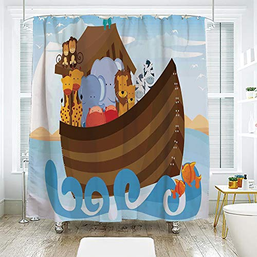 scocici Bathroom Curtain Separation Door Curtain Shower Curtain,Noahs Ark,Different Wild Animals on Noahs Ark Boat Cheerful Story with Characters Fun,Multicolor,94.4