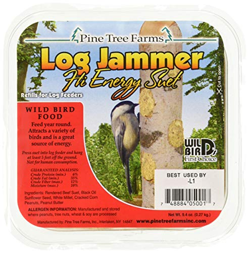 - Pine Tree Farms 12 Pack of Log Jammers Hi Energy Suet 3 Refills (36 Plugs Total)