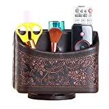 YAPISHI PU Leather 360 Degrees Rotatable Organizer Remote Control/Controller Organizer, Spinning TV Guide/Mail/Media Desktop Organizer Caddy Holder (Brown Embroidery)