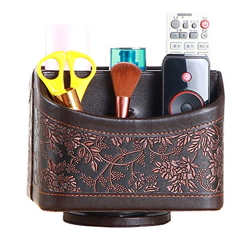 YAPISHI PU Leather 360 Degrees Rotatable Organizer Remote Control/Controller Organizer, Spinning TV Guide/Mail/Media Desktop Organizer Caddy Holder (Brown Embroidery) by YAPISHI (Image #6)'