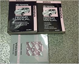 2004 toyota sienna van service shop repair manual set oem 04 w ewd factory  (2 volume set, and the electrical wiring diagrams manual