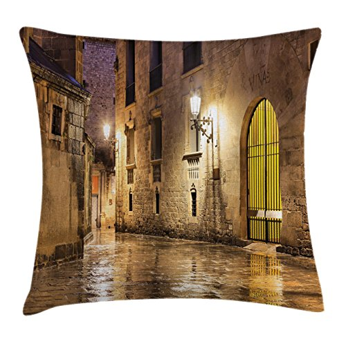 Ambesonne Gothic Throw Pillow Cushion Cover, Gothic Ancient Stone Quarter of Barcelona Spain Renaissance Heritage Night Street Photo, Decorative Square Accent Pillow Case, 16 X 16 Inches, Cream by Ambesonne