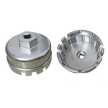 Lecimo Llave De Filtro De Aceite con Tapa De Aluminio, Flautas 64.5mm-14P Llave De Rejilla De Desmontaje De La Carcasa para Toyota Lexus: Amazon.es: Hogar