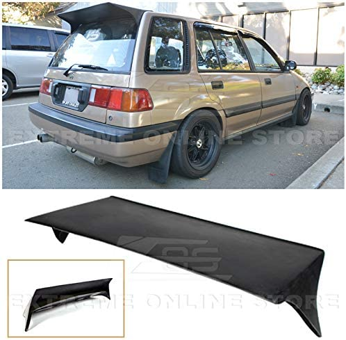 EOS Js Racing Style JDM Fiberglass Primer Black Rear Top Roof Wing Lip Spoiler Replacement for 1988-1991 Honda Civic EE2 EE4