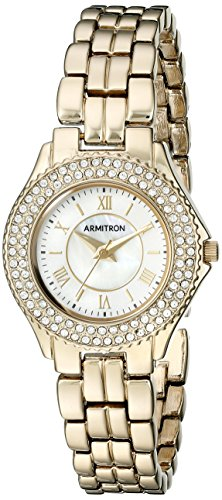 Armitron Women's 75/5332MPGP Swarovski Crystal Accented Gold-Tone Bracelet Watch