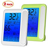 #5: 2 Pack Senbowe™ Digital Hygrometer Indoor Room Thermometer Humidity Gauge with Jumbo Touchscreen, Backlight ,MIN/MAX Records,Temperature Humidity Monitor Fahrenheit Or Celsius(White + Green)