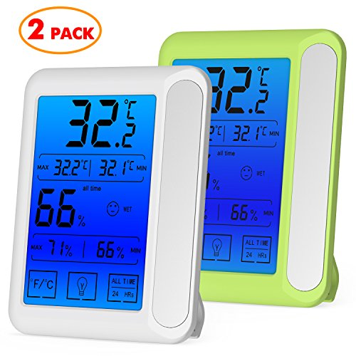 Price comparison product image senbowe 2 Pack trade; Digital Hygrometer Indoor Room Thermometer Humidity Gauge with Jumbo Touchscreen,  Backlight, MIN / MAX Records, Temperature Humidity Monitor Fahrenheit Or Celsius(White + Green)