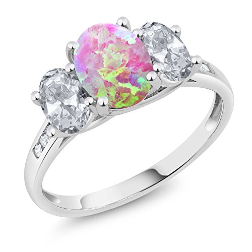 Oval 3 Stone Cabochon Ring - 10K White Gold 2.05 Ct Oval Cabochon Pink Simulated Opal White Topaz 3-Stone Ring (Ring Size 6)