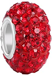 BoRuo Charms 925 Sterling Silver Czech Crystal Ruby Glass Ball Charms Beads Spacers July Birthstone Solid Core Charm Fit Pandora Bracelets.