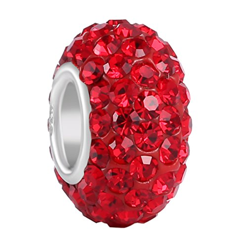 Ruby Birthstone Charm - BoRuo Charms 925 Sterling Silver Czech Crystal Ruby Glass Ball Charms Beads Spacers July Birthstone Solid Core Charm Fit All Bracelets.